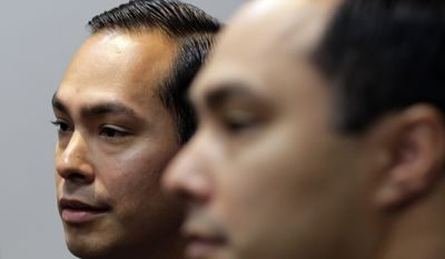 Julian Castro (left) and twin brother Joaquin Castro (Associated Press) **FILE**