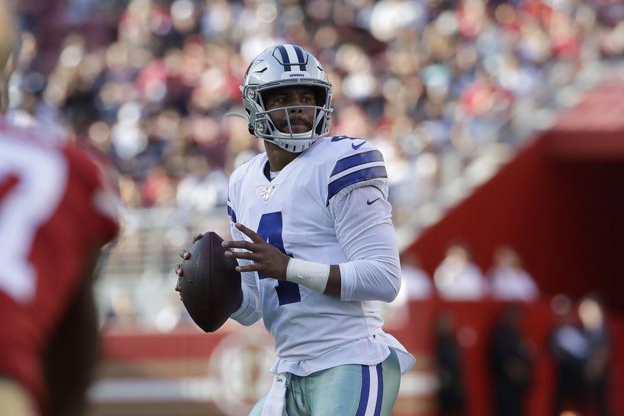 Dallas Cowboys quarterback Dak Prescott (4) against the San Francisco 49ers during an NFL preseason football game in Santa Clara, Calif., Saturday, Aug. 10, 2019. (AP Photo/Jeff Chiu) ** FILE **