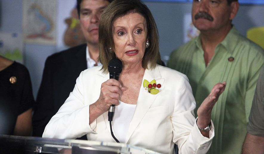 In this Sunday, Aug. 11, 2019, photo, House Speaker Nancy Pelosi speaks during a news conference as a congressional delegation visited the Catholic Charities Respite Center in McAllen, Texas. (Joel Martinez/The Monitor via AP) **FILE**