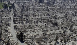 FILE - In this Oct. 14, 2017, file photo, an aerial view shows the devastation of the Coffey Park neighborhood after a wildfire swept through in Santa Rosa, Calif. People affected by wildfires in Northern California in 2017 and 2018 can file claims for housing assistance and other immediate needs with Pacific Gas & Electric Co. starting Monday, Aug. 12, 2019. (AP Photo/Marcio Jose Sanchez, File)