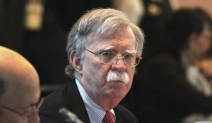 U.S. National Security Adviser John Bolton attends a conference of more than 50 nations that largely support Venezuelan opposition leader Juan Guaido in Lima, Peru, Tuesday, Aug. 6, 2019. (AP Photo/Martin Mejia) ** FILE **