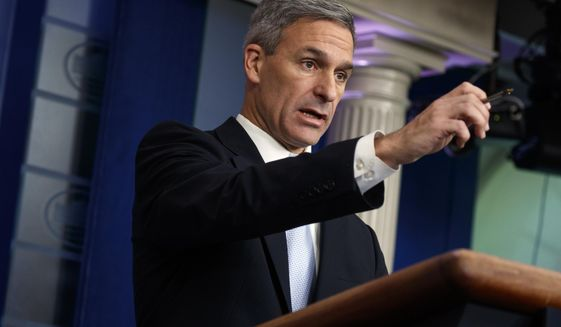 Acting Director of United States Citizenship and Immigration Services Ken Cuccinelli, speaks during a briefing at the White House, Monday, Aug. 12, 2019, in Washington. (AP Photo/Evan Vucci) ** FILE **