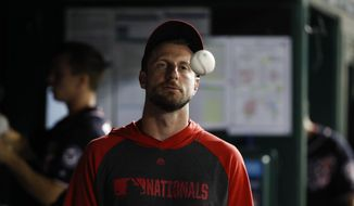 Washington Nationals starting pitcher Max Scherzer tosses a ball in the dugout during a baseball game against the Cincinnati Reds at Nationals Park, Monday, Aug. 12, 2019, in Washington. The Nationals won 7-6. (AP Photo/Alex Brandon)