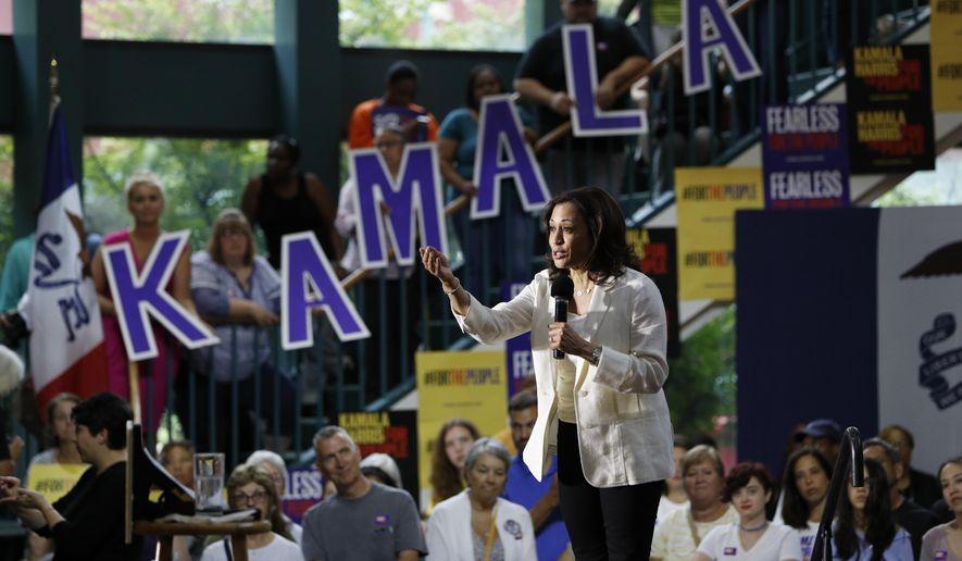 Democratic presidential candidate Sen. Kamala Harris, D-Calif., speaks at a rally Monday, Aug. 12, 2019, in Davenport, Iowa. (AP Photo/John Locher)