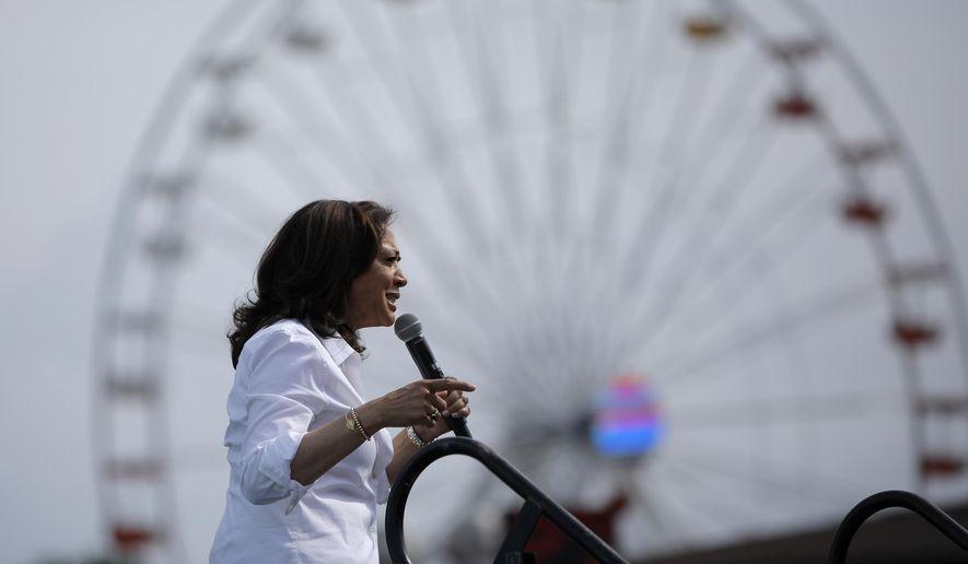 Democratic presidential candidate Sen. Kamala Harris, D-Calif., speaks at the Iowa State Fair in this Saturday, Aug. 10, 2019, file photo in Des Moines, Iowa. (AP Photo/John Locher) **FILE**