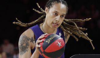 In this July 26, 2019, file photo, Phoenix Mercury's Brittney Griner competes in the skills challenge during the WNBA All-Star festivities in Las Vegas. The Mercury have been ravaged by injuries lately and may be without Brittney Griner for three games because of her role in the fight that occurred against Dallas last Saturday, Aug. 10. (AP Photo/John Locher, File) **FILE**