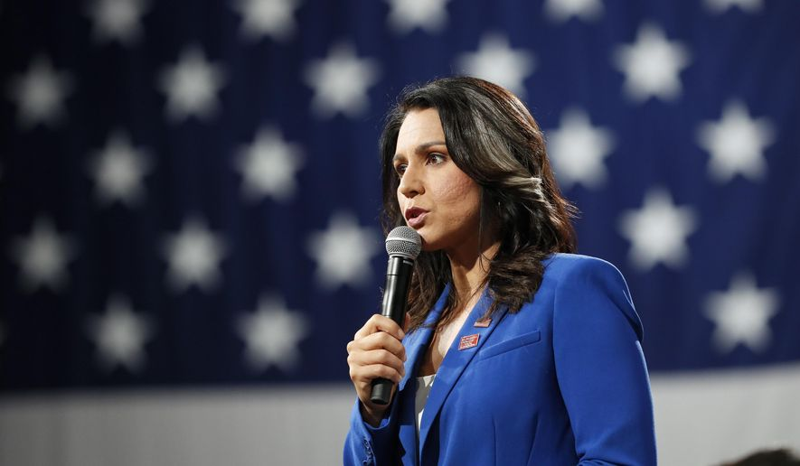 Democratic presidential candidate Rep. Tulsi Gabbard speaks at the Presidential Gun Sense Forum, Saturday, Aug. 10, 2019, in Des Moines, Iowa. (AP Photo/Charlie Neibergall) ** FILE **
