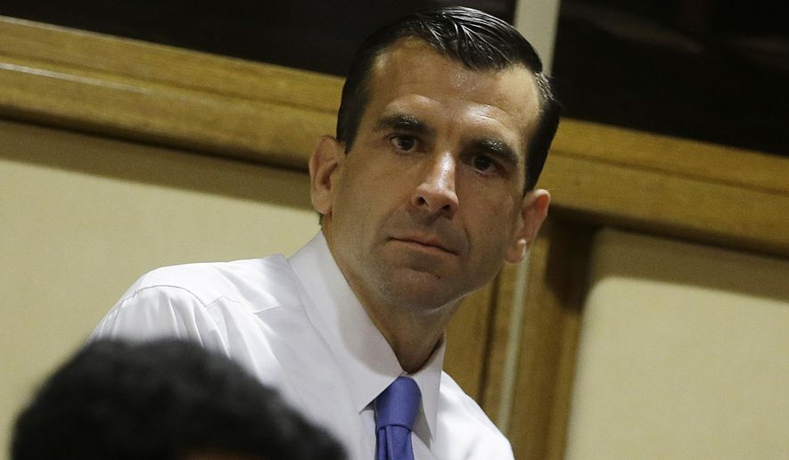 San Jose Mayor Sam Liccardo, center, attends a conference on Modern Slavery and Climate Change at the Vatican. Liccardo, on Monday, Aug. 12, 2019, has proposed gun owners in the nation's 10th largest city to carry liability insurance to cover taxpayer costs associated with firearm violence. If approved, Liccardo's strict new measure would be the first of its kind in the nation to curb gun violence. (AP Photo/Gregorio Borgia,File)
