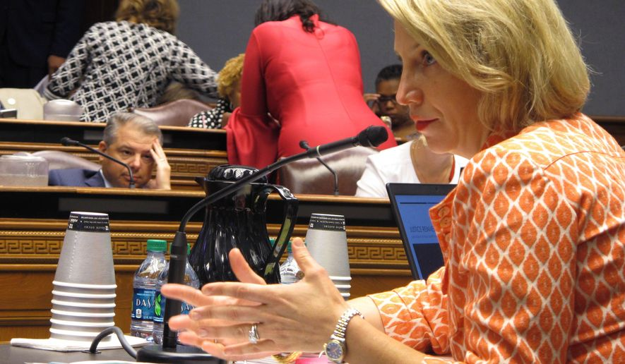 Louisiana Health Secretary Rebekah Gee answers questions from the joint House and Senate budget committee about new contract awards for the Medicaid managed care program, on Tuesday, Aug. 13, 2019, in Baton Rouge, La. (AP Photo/Melinda Deslatte)