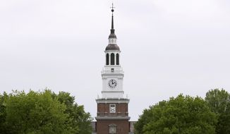 FILE - In this May 22, 2018 file photo, the spire of the Baker-Berry Library stands above The Green at Dartmouth College in Hanover, N.H. The school announced Tuesday, Aug. 13, 2019, its new unified policy on sexual misconduct for faculty, students and staff will provide clarity and consistency across its campus. The new policy takes effect on Sept. 1. (AP Photo/Charles Krupa, File)