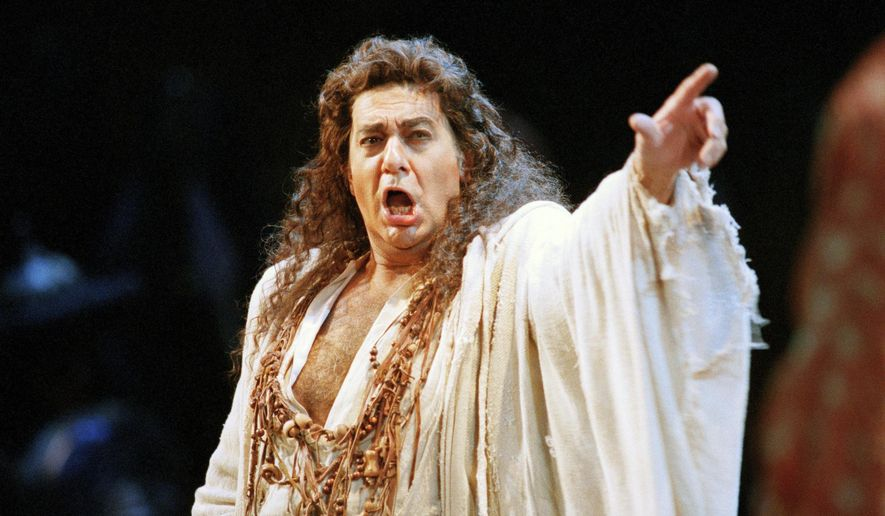 "In this Nov. 5, 1994, file photo, Placido Domingo performs in the San Francisco Opera's production of ""Herodiade"" in San Francisco. On Tuesday, Aug. 13, 2019, the San Francisco Opera said it is canceling an October concert featuring Domingo after the publication of an Associated Press story that quoted numerous women as saying they were sexually harassed or subjected to inappropriate behavior by the superstar. (AP Photo/Dwayne Newton)"
