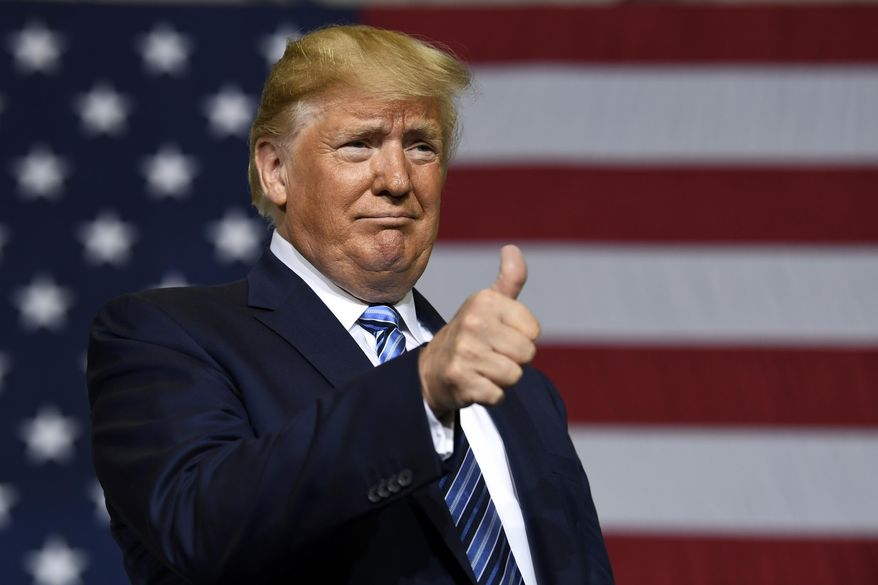 President Donald Trump arrives to speaks Tuesday, Aug. 13, 2019, during a visit to Shell's soon-to-be completed Pennsylvania Petrochemicals Complex in Monaca, Pa. (AP Photo/Susan Walsh)