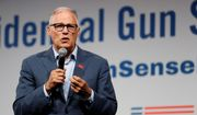 Democratic presidential candidate Washington Gov. Jay Inslee speaks at the Presidential Gun Sense Forum, Saturday, Aug. 10, 2019, in Des Moines, Iowa. (AP Photo/Charlie Neibergall)