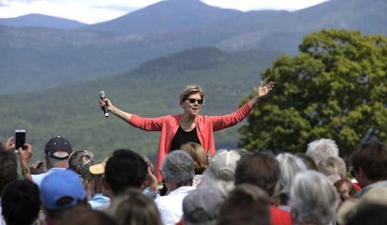Democratic presidential candidate Sen. Elizabeth Warren, D-Mass., speaks at a campaign event, Wednesday, Aug. 14, 2019, in Franconia, N.H. (AP Photo/Elise Amendola)