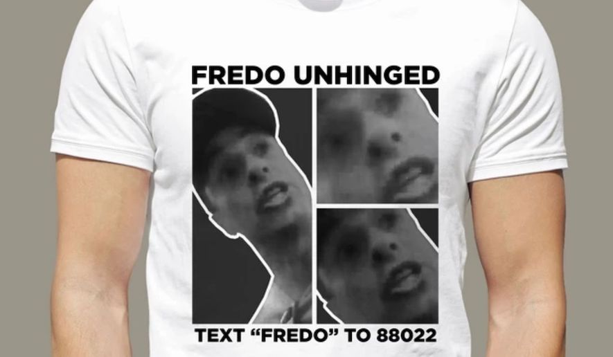 "A shirt released by the President Trump's 2020 campaign uses CNN's Chris Cuomo's viral ""Fredo"" video as the inspiration for merchandise. (Image: donaldjtrump.com, 'Fredo Unhinged Tee' landing page)"
