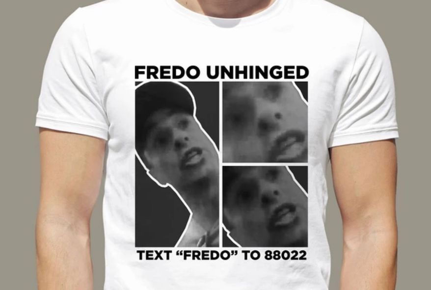 """A shirt released by the President Trump's 2020 campaign uses CNN's Chris Cuomo's viral """"Fredo"""" video as the inspiration for merchandise. (Image: donaldjtrump.com, 'Fredo Unhinged Tee' landing page)"""