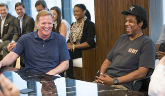 Commissioner of the NFL Roger Goodell and Jay-Z attend a press conference at ROC Nation on Wednesday, Aug. 14, 2019 in New York. (Ben Hider/AP Images for NFL) ** FILE **