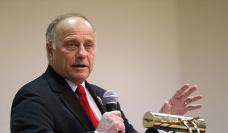 In this Jan. 26, 2019, file photo, U.S. Rep. Steve King, R-Iowa, speaks during a town hall meeting in Primghar, Iowa. (AP Photo/Charlie Neibergall, File)