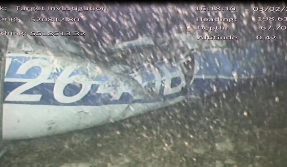 In this image released Monday Feb. 4, 2019, by the UK Air Accidents Investigation Branch (AAIB) showing the rear left side of the fuselage including part of the aircraft registration N264DB, in the English Channel after it went missing carrying Argentine soccer player Emiliano Sala on Jan. 21 2019.  The AAIB said Wednesday Aug. 14, 2019, that toxicology tests found that Sala and his pilot were exposed to dangerous levels of carbon monoxide inside the small plane that crashed in the English Channel, killing them both. (AAIB File via AP)