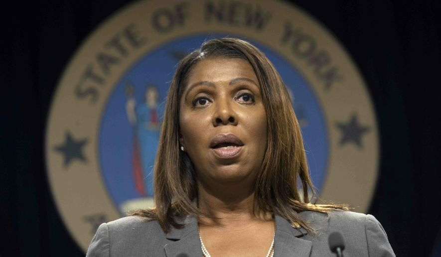 FILE - In this Tuesday, June 11, 2019, file photo, New York Attorney General Letitia James speaks during a news conference, in New York. A coalition of 15 states, including New York, the District of Columbia and several major cities are opposing a lawsuit by the state of Alabama that would have the U.S. Census count only U.S. citizens and other legal residents in totals used for deciding how many congressional seats a state should have. (AP Photo/Mary Altaffer, File)