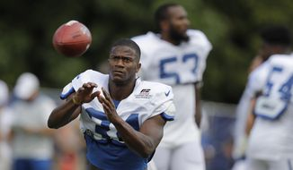 Indianapolis Colts cornerback Rock Ya-Sin (34) runs a drill during practice at the NFL team's football training camp in Wednesday, Aug. 14, 2019, in Westfield, Ind. (AP Photo/Darron Cummings)