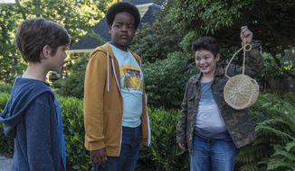 """This image released by Universal Pictures shows Jacob Tremblay, from left, as Max, Keith L. Williams as Lucas and Brady Noon as Thor in the film, """"Good Boys,"""" written by Lee Eisenberg and Gene Stupnitsky and directed by Stupnitsky. (Ed Araquel/Universal Pictures via AP)"""