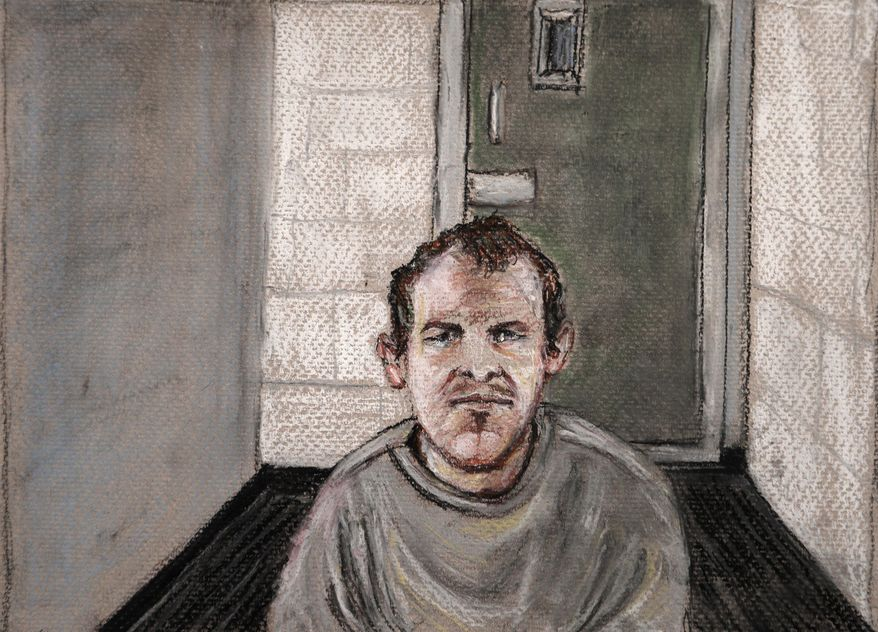 In this June 14, 2019, file courtroom drawing, Brenton Tarrant, the man accused of killing 51 people at two Christchurch mosques on March 15, 2019, appears via video link at the Christchurch District Court, from the maximum-security prison in Auckland where he's being held, Christchurch, New Zealand. New Zealand officials admitted Wednesday, Aug. 14, 2019, that they made a mistake by allowing Tarrant to send a hand-written letter from his prison cell. (AP Photo/Stephanie McEwin, File)