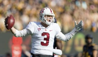FILE - In this Dec. 1, 2018, file photo, Stanford Cardinal quarterback K.J. Costello (3) reacts against California  during a football game in Berkeley, Calif. The decision to remain in college one more season and delay entry into the NFL draft was an easy one for quarterback K.J. Costello and a beneficial one for Stanford. (AP Photo/John Hefti, File)