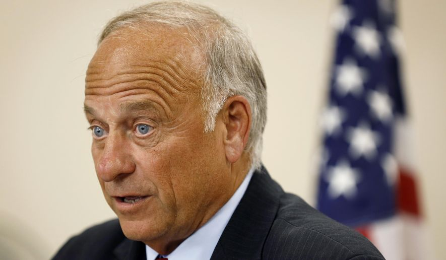 """U.S. Rep. Steve King, R-Iowa, speaks during a town hall meeting, Tuesday, Aug. 13, 2019, in Boone, Iowa. King is defending his call for a ban on all abortions by questioning whether """"there would be any population of the world left"""" if not for births due to rape and incest. Speaking Wednesday, Aug. 14, 2019, before a conservative group in the Des Moines suburb of Urbandale, the Iowa congressman reviewed legislation he has sought that would outlaw abortions without exceptions for rape and incest. (AP Photo/Charlie Neibergall)"""