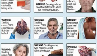 This image provided by the U.S. Food and Drug Administration on Thursday, Aug. 15, 2019 shows proposed cigarette warning labels. On Thursday, the agency announced a new attempt to place graphic warnings on all cigarettes to discourage Americans from smoking. The new effort comes more than seven years after a previous proposal was defeated in court. (FDA via AP)