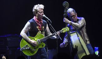 Photo by: KGC-138/STAR MAX/IPx 2019 6/26/19 The Stray Cats (Brian Setzer, Slim Jim and Lee Rocker) perform at the Eventim Apollo in London.