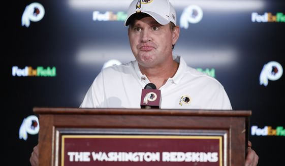 Washington Redskins head coach Jay Gruden listens to question during a news conference after of an NFL preseason football game against the Cincinnati Bengals, Thursday, Aug. 15, 2019, in Landover, Md. The Bengals won 23-13. (AP Photo/Alex Brandon)