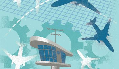 Illustration on modernizing the FAA by Linas Garsys/The Washington Times