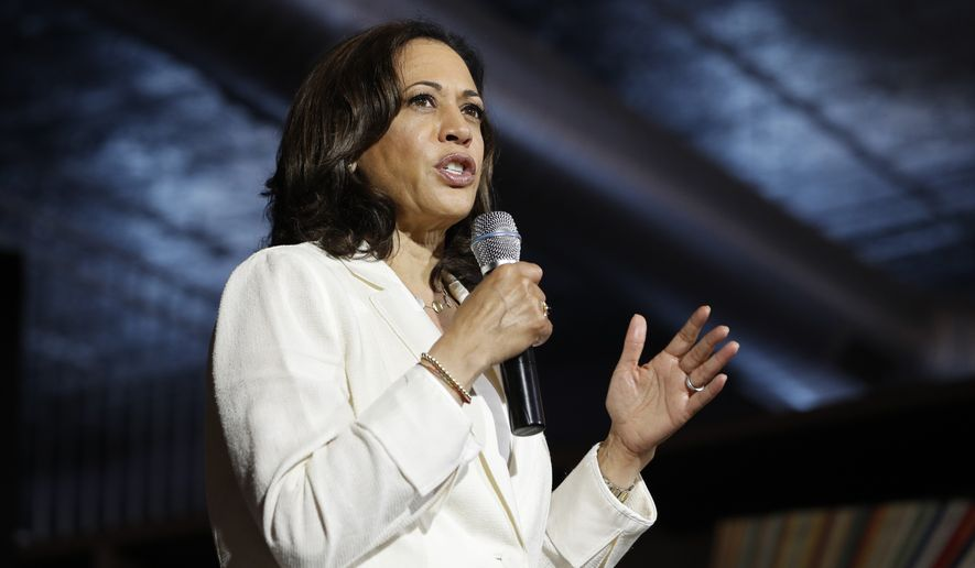 FILE - In this Aug. 12, 2019, file photo, Democratic presidential candidate Sen. Kamala Harris, D-Calif., speaks at a campaign event on healthcare in Burlington, Iowa. Florida legislators are moving to officially condemn white nationalism, with Democrats and Republicans alike drafting resolutions against hate-spurred violence, but the unity could be short-lived as elected officials plunge into debates over how the government should intervene to prevent more mass killings and rein in white supremacists. (AP Photo/John Locher, File)