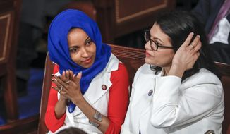 "Rep. Ilhan Omar (left), Minnesota Democrat, and Rep. Rashida Tlaib, Michigan Democrat, are members of ""The Squad"" with Rep. Alexandria Ocasio-Cortez, a New York Democrat who declared that the Palestinians have no choice but to riot over the supposed repression they face at the hands of the Israelis. (Associated Press/File)"