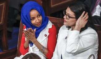"""Rep. Ilhan Omar (left), Minnesota Democrat, and Rep. Rashida Tlaib, Michigan Democrat, are members of """"The Squad"""" with Rep. Alexandria Ocasio-Cortez, a New York Democrat who declared that the Palestinians have no choice but to riot over the supposed repression they face at the hands of the Israelis. (Associated Press/File)"""
