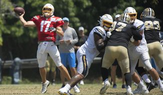 Los Angeles Chargers quarterback Philip Rivers throws a pass during the team's joint NFL practice with the New Orleans Saints in Costa Mesa, Calif., Thursday, Aug. 15, 2019. (AP Photo/Kyusung Gong)