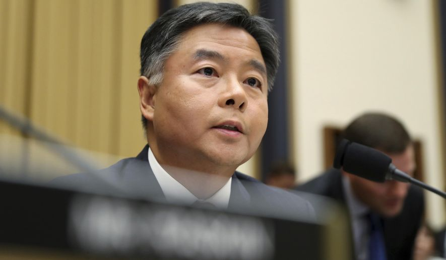 In this July 24, 2019, photo, Rep. Ted Lieu, D-Calif., asks questions to former special counsel Robert Mueller, as he testifies before the House Judiciary Committee hearing on his report on Russian election interference, on Capitol Hill, in Washington. (AP Photo/Andrew Harnik) **FILE**