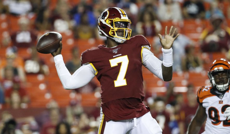 Washington Redskins quarterback Dwayne Haskins (7) throws during the second half of an NFL preseason football game against the Cincinnati Bengals, Thursday, Aug. 15, 2019, in Landover, Md. The Bengals won 23-13. (AP Photo/Alex Brandon) ** FILE **