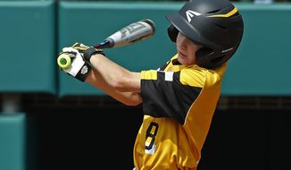 South Riding, Virginia's Liam Thyen (8) drives in a run with a single off Barrington, R.I.'s Alex Anderson (2) during the fifth inning of a baseball game at the Little League World Series tournament in South Williamsport, Pa., Friday, Aug. 16, 2019. Virginia won 3-0. (AP Photo/Gene J. Puskar) ** FILE **