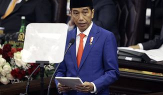 Indonesia's President Joko Widodo delivers his state of the nation address ahead of the country's Independence Day at the parliament building in Jakarta, Indonesia, Friday, Aug. 16, 2019. Indonesia celebrates the 74th anniversary of its independence from the Netherlands on Saturday, Aug. 17. (AP Photo/Achmad Ibrahim)