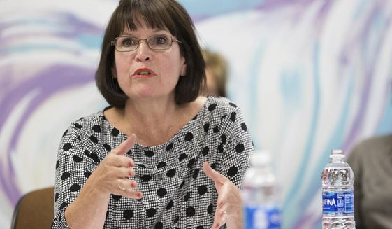 """ADVANCE FOR USE SATURDAY AUG. 17 - In this Oct. 3, 2016 photo, Rep. Betty McCollum speaks during a roundtable at Hillary for Minnesota Headquarters in St Paul, MN. McCollum has said that she supports Israel as a key U.S. ally. But she is different from other members of Congress in her consistent criticism of Israel on human rights issues."""" (Lorie Shaull/MinnPost via AP)"""