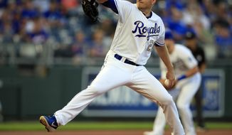 Kansas City Royals starting pitcher Mike Montgomery delivers to a New York Mets batter during the first inning of a baseball game at Kauffman Stadium in Kansas City, Mo., Friday, Aug. 16, 2019. (AP Photo/Orlin Wagner)