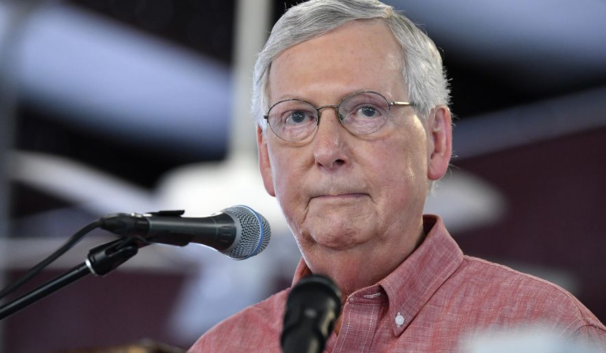 In this Aug. 3, 2019, file photo Senate Majority Leader Mitch McConnell, R-Ky., addresses the audience gathered at the Fancy Farm Picnic in Fancy Farm, Ky. (AP Photo/Timothy D. Easley, File)