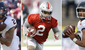 FILE - From left are file photos showing Oklahoma State wide receiver Tylan Wallace in 2018, Ohio State running back JK Dobbins in 2019 and Utah State quarterback Jordan Love in 2018. The three could be considered among darkhorse contenders for the Heisman. (AP Photos/File)