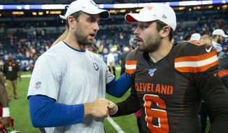 Indianapolis Colts quarterback Andrew Luck (12) greets Cleveland Browns quarterback Baker Mayfield (6) following an NFL preseason football game in Indianapolis, Saturday, Aug. 17, 2019. The Browns defeated the Colts 21-18. (AP Photo/AJ Mast) ** FILE **