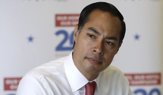 Democratic presidential candidate and former Housing Secretary Julian Castro listens during a discussion about homelessness at Cross Roads House, a transitional housing shelter, Saturday, Aug. 17, 2019, in Portsmouth, N.H. (AP Photo/Elise Amendola)