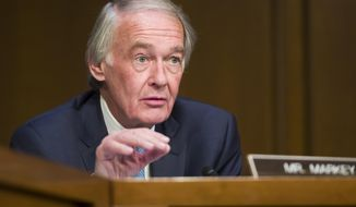 FILE - In this March 27, 2019 file photo, Sen. Ed Markey, D-Mass., speaks during a Senate Transportation subcommittee on commercial airline safety, on Capitol Hill in Washington.  Some Massachusetts voters see Markey as potentially vulnerable to a primary challenge, and one group is even trying to persuade U.S. Rep. Joe Kennedy to run for his seat.  Markey has represented Massachusetts in Congress for decades _ first in the House before winning Democrat John Kerry's former Senate seat in 2013 _ but the state saw an incumbent lose just last year as Democrats elected more women and minorities. (AP Photo/Alex Brandon, File)