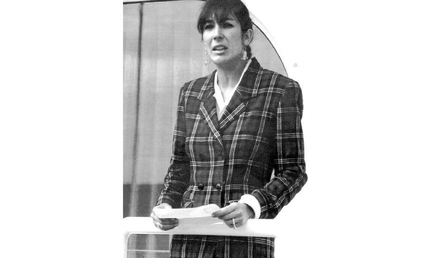 "FILE - In this Nov. 7, 1991, file photo Ghislaine Maxwell, daughter of late British publisher Robert Maxwell, reads a statement in Spanish in which she expressed her family's gratitude to the Spanish authorities, aboard the ""Lady Ghislaine"" in Santa Cruz de Tenerife. Ghislaine is one of the most prominent figures left from the orbit of Jeffrey Epstein after his suicide in jail while awaiting trial on sex trafficking charges. (AP Photo/Dominique Mollard, File)"