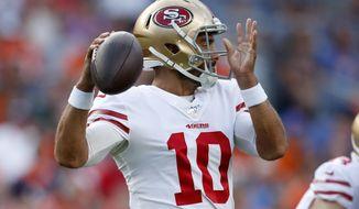 San Francisco 49ers quarterback Jimmy Garoppolo (10) throws against the Denver Broncos during an NFL preseason football game, Monday, Aug. 19, 2019, in Denver. (AP Photo/David Zalubowski)